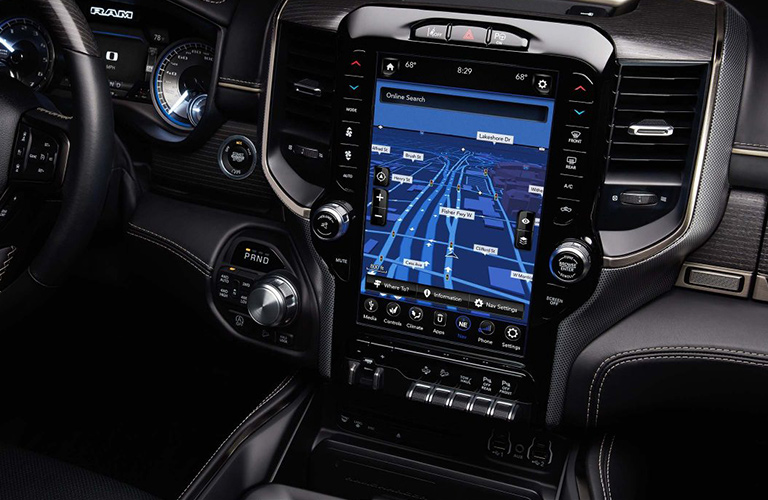 close up of touchscreen display in 2019 Ram 1500