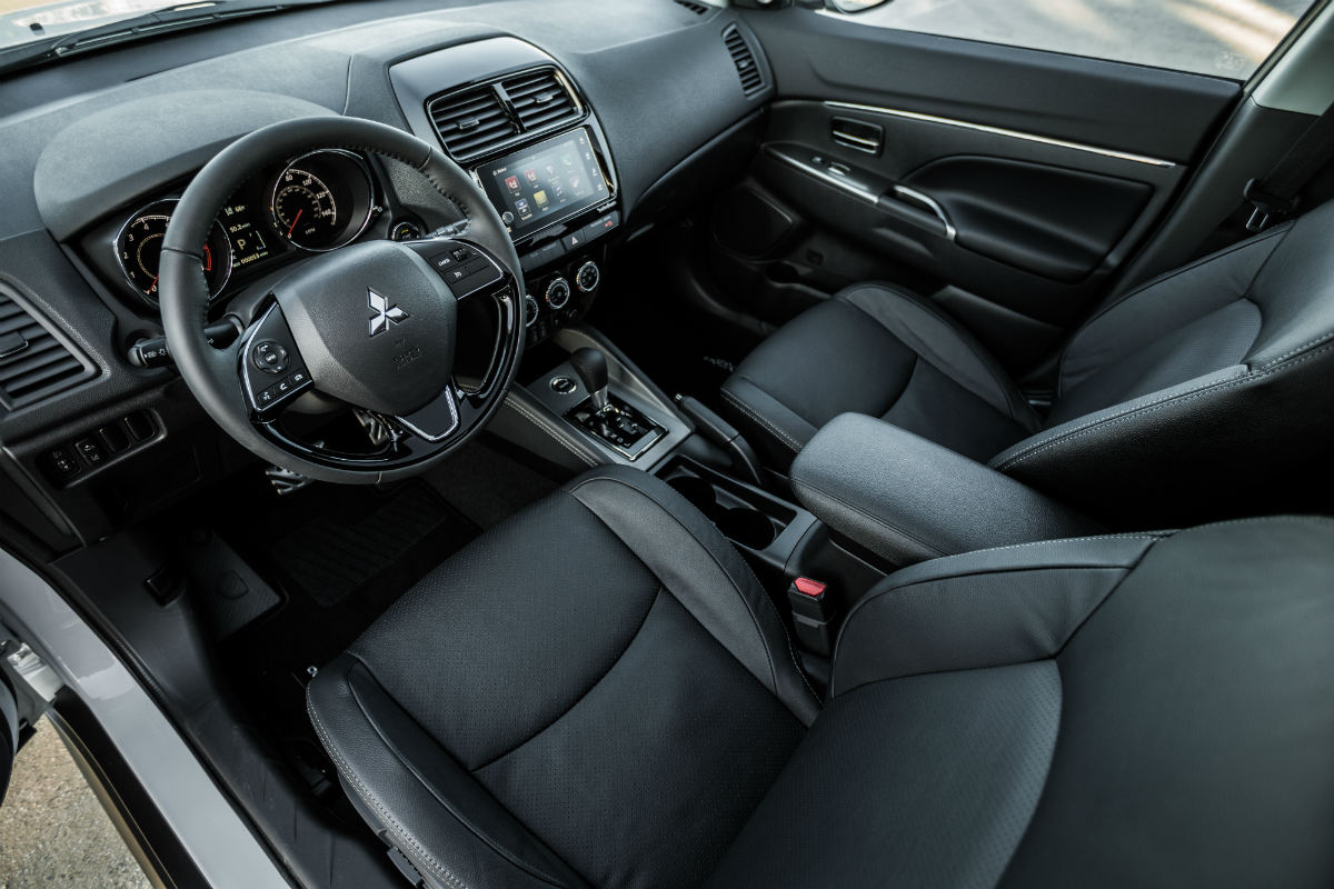 high angle view of the front interior of a 2018 mitsubishi outlander sport