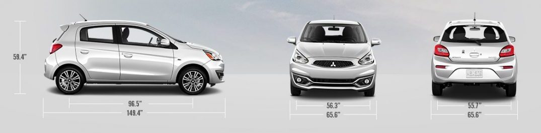 exterior dimensions of the 2019 Mitsubishi Mirage