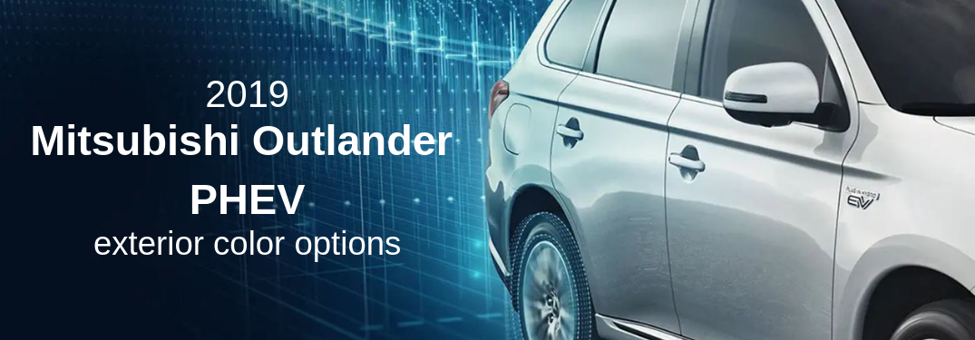 2019 Mitsubishi Outlander PHEV exterior color options with image of outlander PHEV in silver