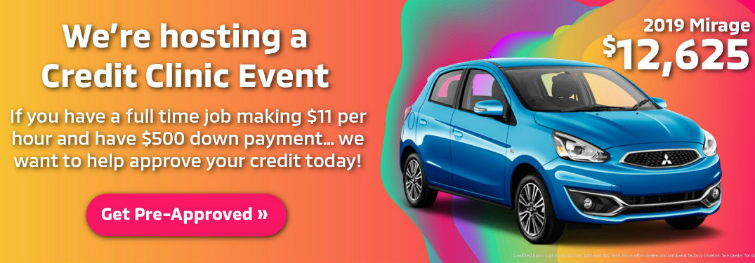 A banner ad for the Credit Clinic at Continental Mitsubishi. A 2019 Mitsubishi Mirage emerges riding a psychedelic wave of color.