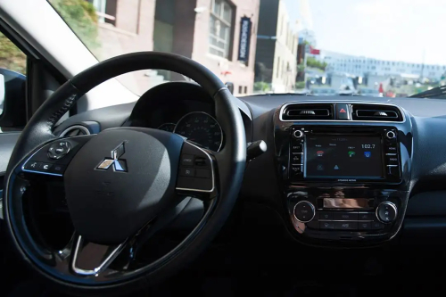Interior driver's view inside a 2020 Mitsubishi Mirage G4.
