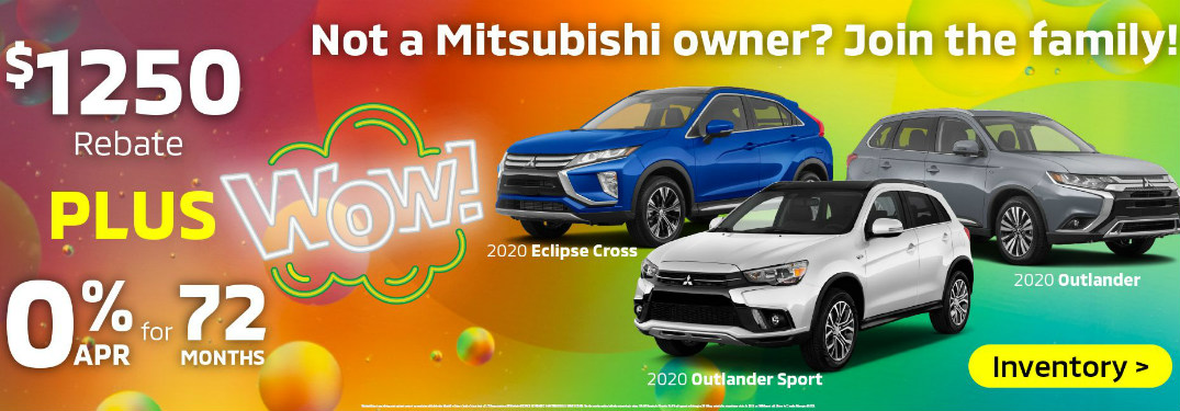 "A multicolored banner reads ""Wow!"" and lists details on 2020 Mitsubishi vehicle offers."