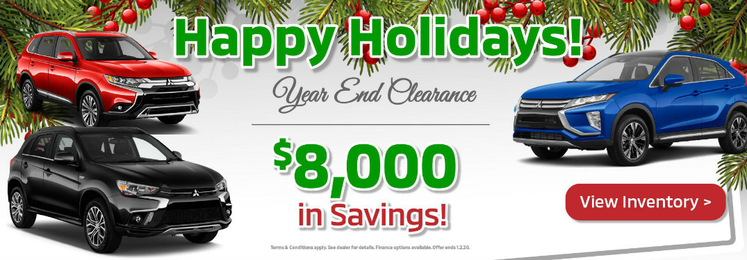 A banner advertising year-end clearance offers at Continental Mitsubishi.