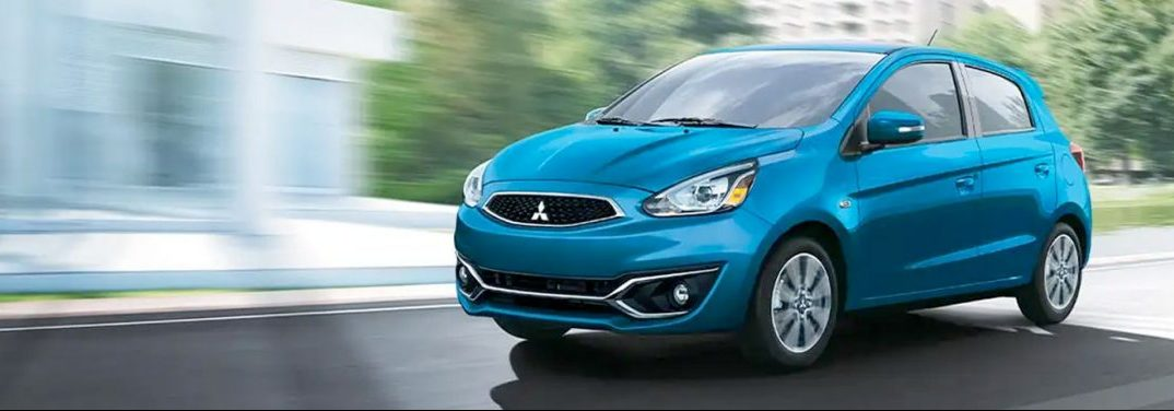 Blue 2020 Mitsubishi Mirage cruises in search of somewhere to have remote start installed upon it.