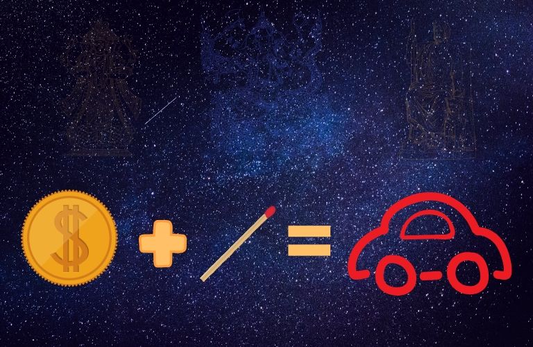 A coin, representing a tax refund, is added to a match, resulting in a new vehicle. A background of stars and subtly floating deities reminds us of the deeply symbolic nature of the image.
