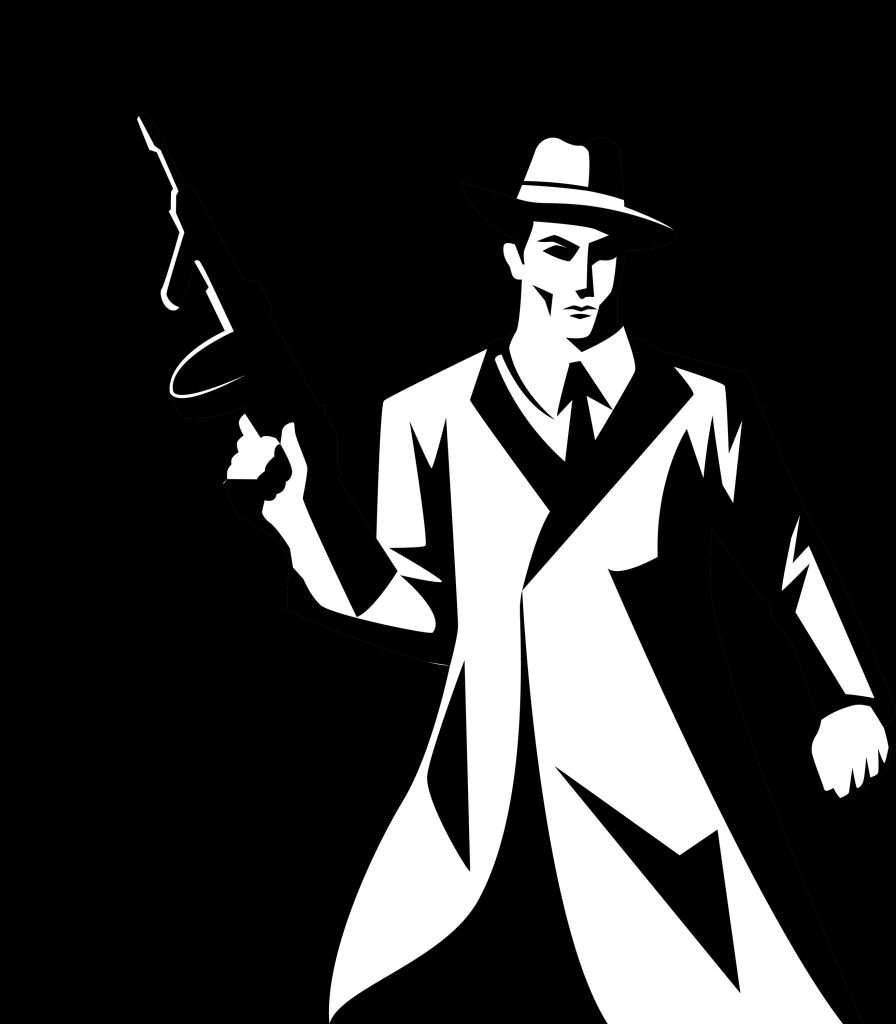 Stylized silhouette of a mobster with a Tommy gun.