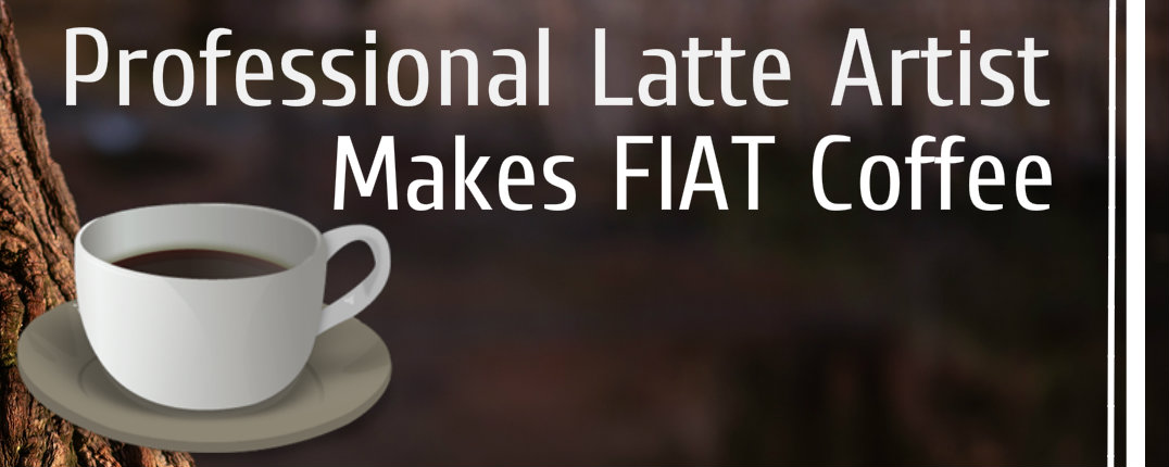Fiat latte artist draws cars in coffee