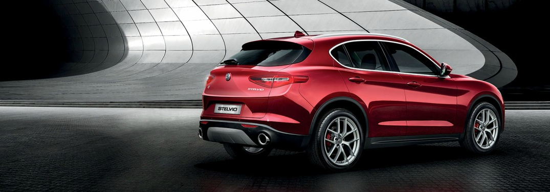 2018 Alfa Romeo Stelvio red back side view
