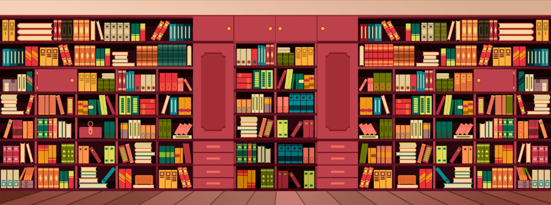 a colorful painting of a stocked bookshelf full of reading material in a library or bookstore