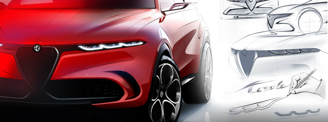 Alfa Romeo Tonale Concept vehicles with design sketches put next to it