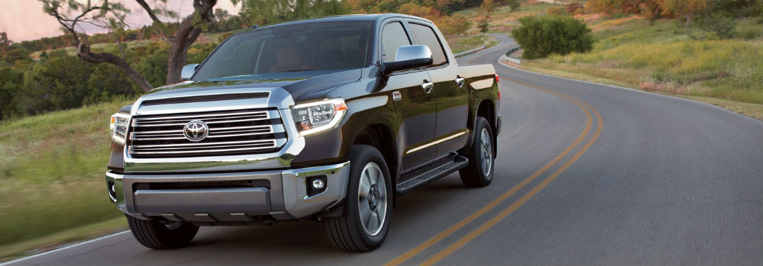 Front exterior view of a black 2018 Toyota Tundra