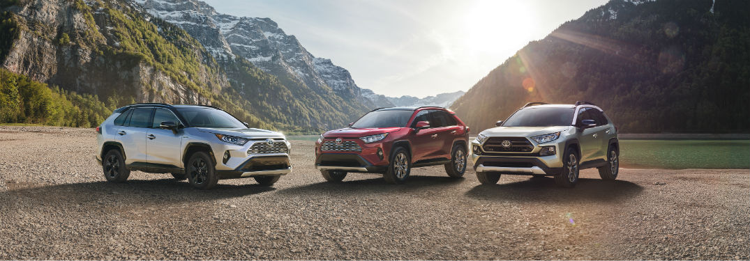 Front exterior views of three 2019 Toyota Rav4's