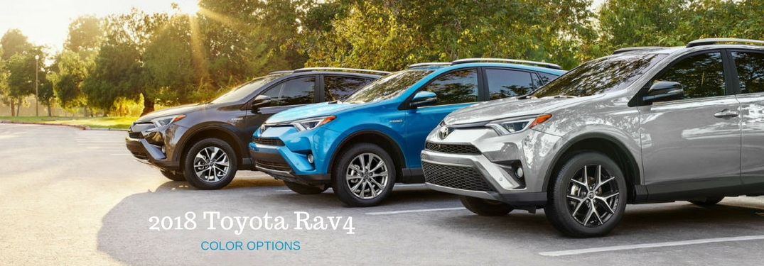 2018 Toyota Rav4 Color Options, text on an image of three 2018 Toyota Rav4's lined up