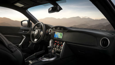 2019 Toyota 86 interior side view of steering wheel and dashboard