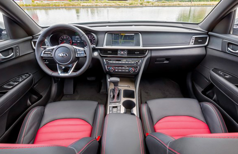 front seats and dashboard design in 2019 Kia Optima