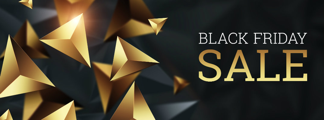 Black Friday sales banner with golden decoration