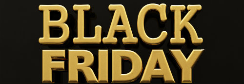 Black Friday stamp banner with gold inscription