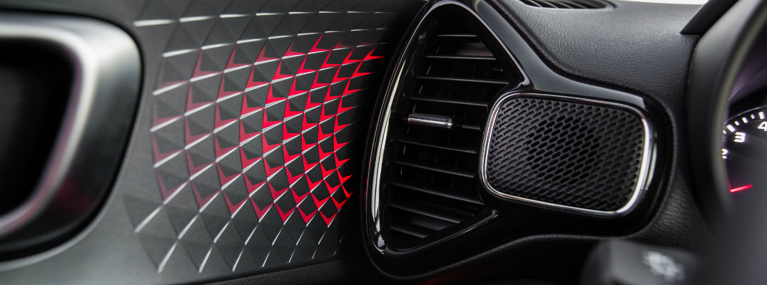 2020 Kia Soul GT-Line interior shot of closeup of vent, interior accents, and mood lighting system at work