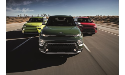 Exterior front shot of 2020 Kia Soul GT-Line, X-Line, and EV builds with green, yellow, and red paint colors