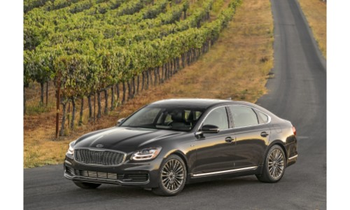 2019 Kia K900 exterior shot with gray metallic paint color parked on a country row near a farm of trees