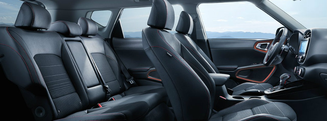 2020 Kia Soul interior side shot of cabin space, interior design accents, and seating upholstery