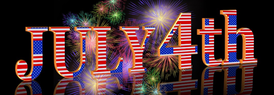 July 4th and 4th of July text in Stars and Stripes coloring with fireworks in the background