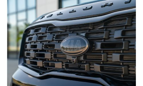 2021 Kia Telluride Nightfall Edition exterior closeup of grille and logo