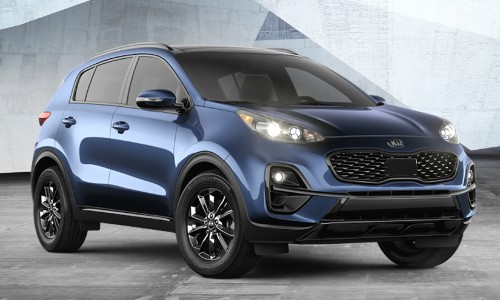 2021 Kia Sportage Nightfall Edition with Pacific Blue paint color exterior front promo shot