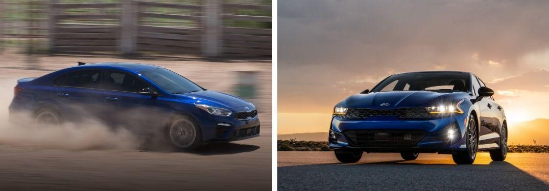 2021 Kia Forte in blue and 2021 Kia K5 in blue