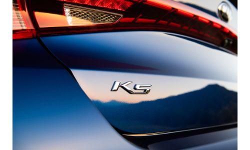 2021 Kia K5 GT exterior closeup shot of model badging