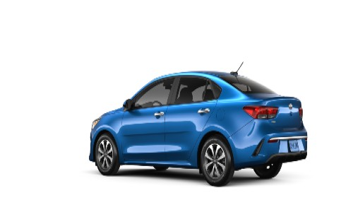 2021 Kia Rio S exterior rear promo shot in light blue paint