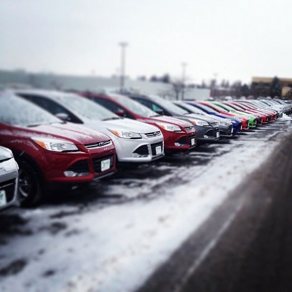 Ford, Snow, Cars, Line, Dealership, Ice, Vermont
