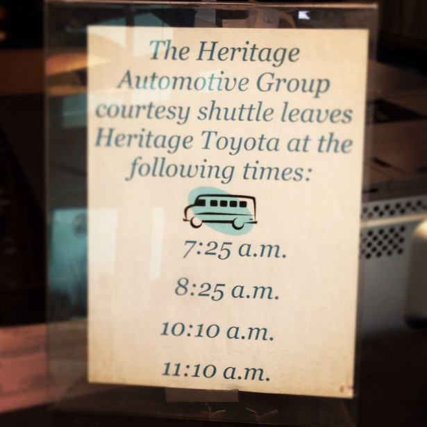 Heritage Toyota Shuttle Times