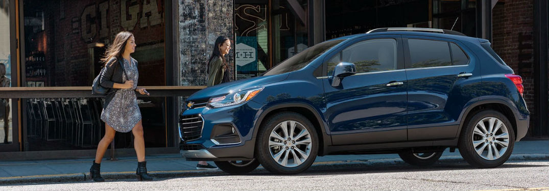 2019 Chevy Trax in blue with woman