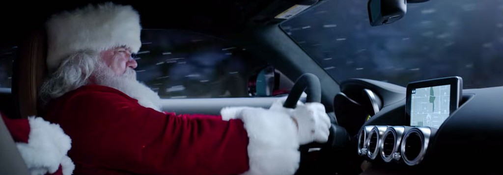 What is santa driving in new mercedes benz commercial for Mercedes benz new advert