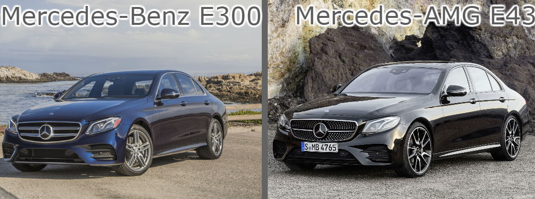 2017 mercedes benz e300 vs 2017 mercedes amg e43. Black Bedroom Furniture Sets. Home Design Ideas
