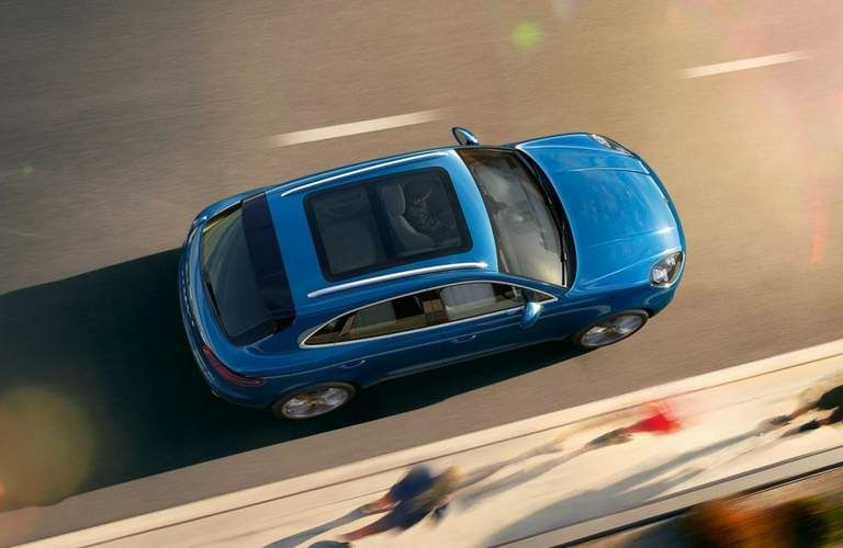 Overhead view of blue 2018 Porsche Macan
