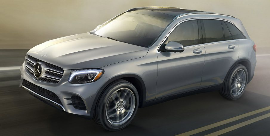 full view of the 2018 Mercedes-Benz GLC driving on the road