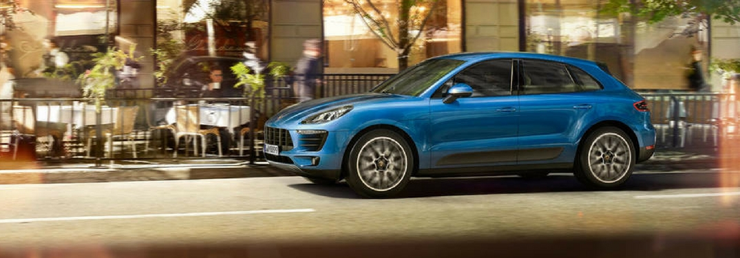 2018 Porsche Macan S parked outside an outdoor restaurant