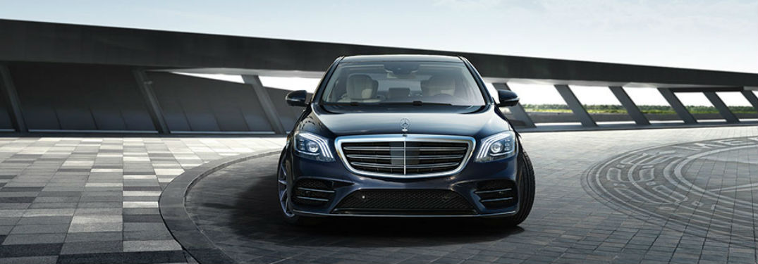 Front exterior view of a black 2018 Mercedes-Benz S-Class