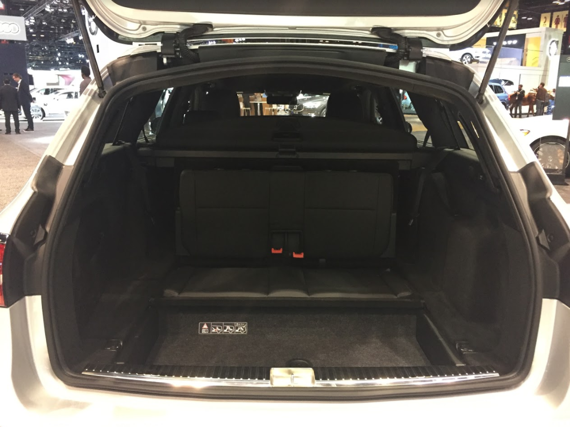 opened trunk of the 2018 Mercedes-Benz E 400 at the 2018 Chicago Auto Show
