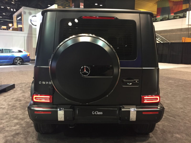 rear view of the 2019 Mercedes-Benz G-Class at the 2018 Chicago Auto Show