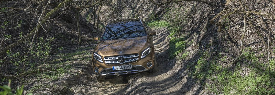 2018 Mercedes-Benz GLA driving off road in a forest