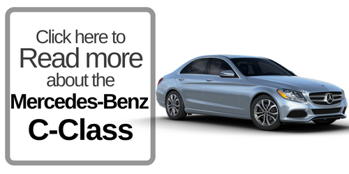 "Button that says ""Click here to Read more about the Mercedes-Benz C-Class "" with a picture of the C-Class on the right"