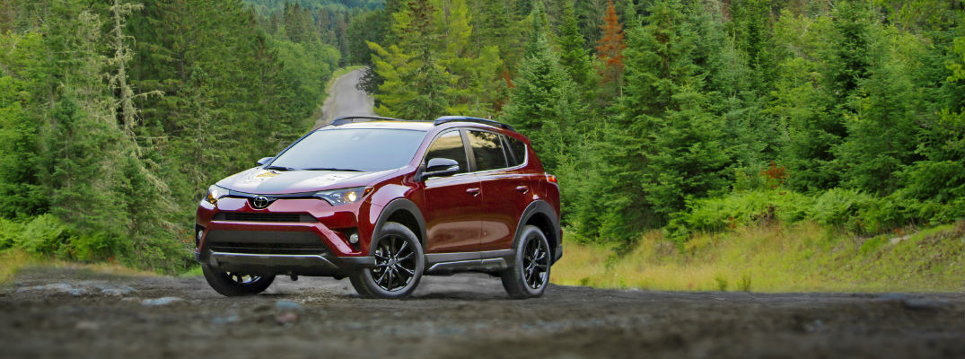 A photo of the 2018 Toyota RAV4 Adventure parked in a gravel lot in the woods.