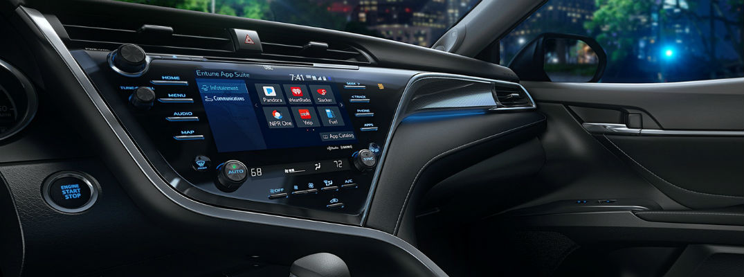 A close up photo of the Entune 3.0 touchscreen available in new Toyota vehicles