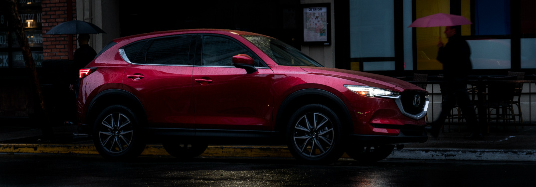 2018 Mazda CX-5 soul red side view in the rain