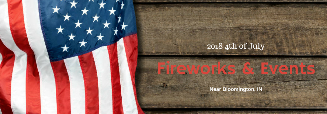 2018 4th of July Fireworks & Events near Bloomington, IN, text on an image of the American Flag on a wooden table