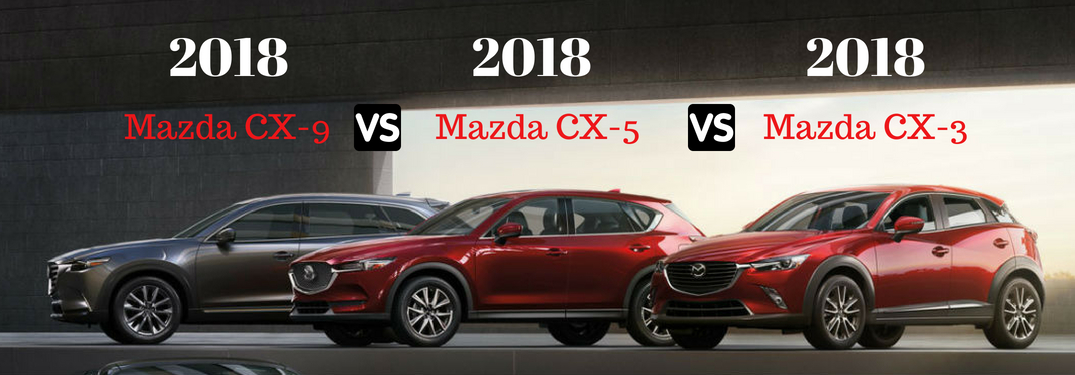 Driver side exterior views of the 2018 Mazda CX-3, CX-5, and CX-9